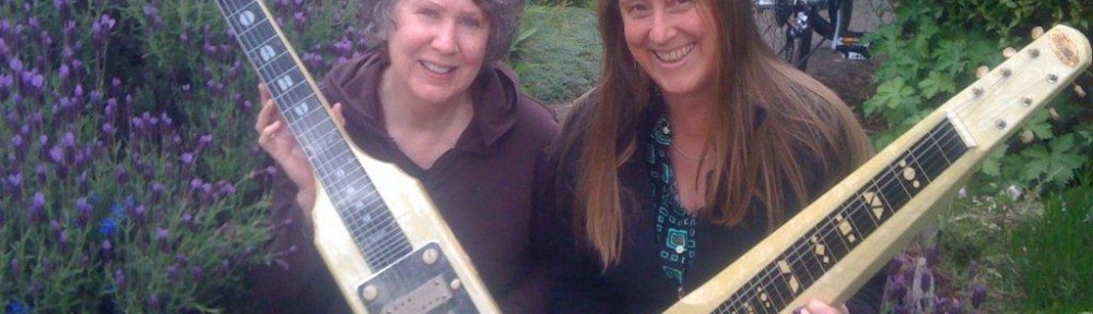 Mary and label mate Fiona Boyes with Oahu lap steels